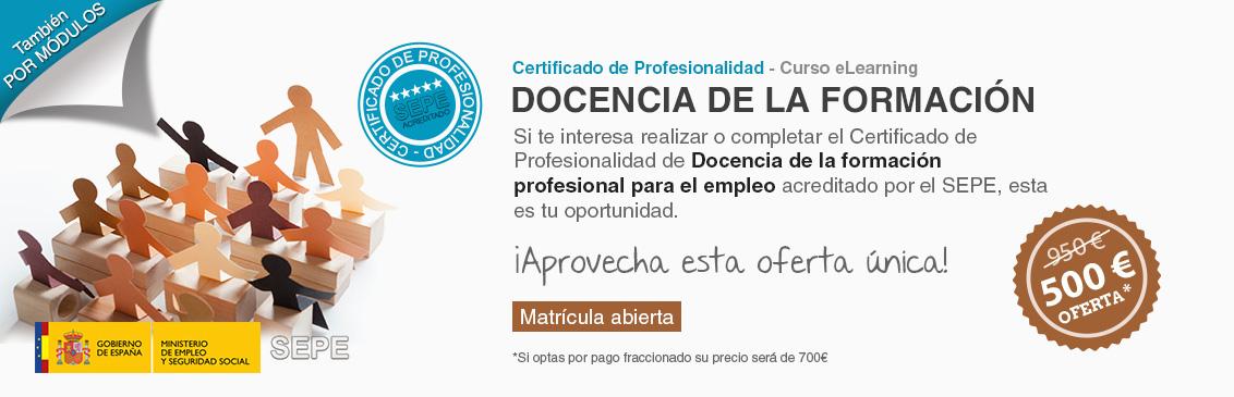 Oferta del curso e-learning de Docencia de la formación