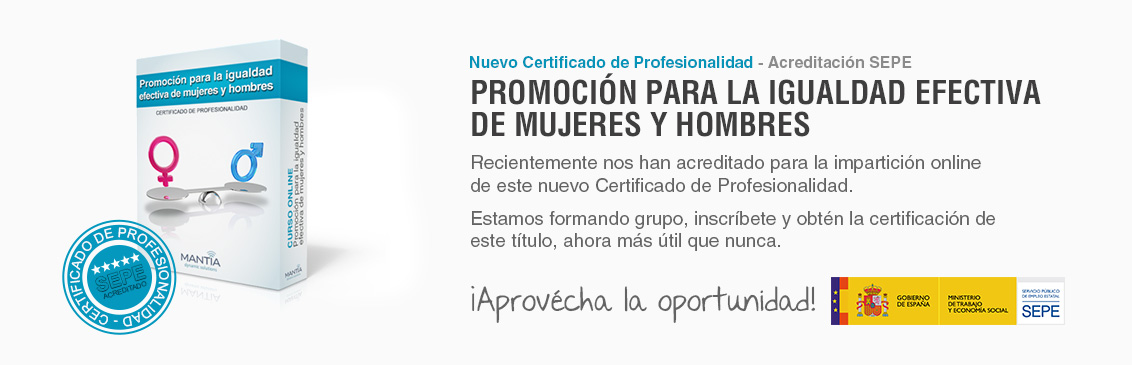 Nuevo certificado de profesionalidad acreditado de Igualdad